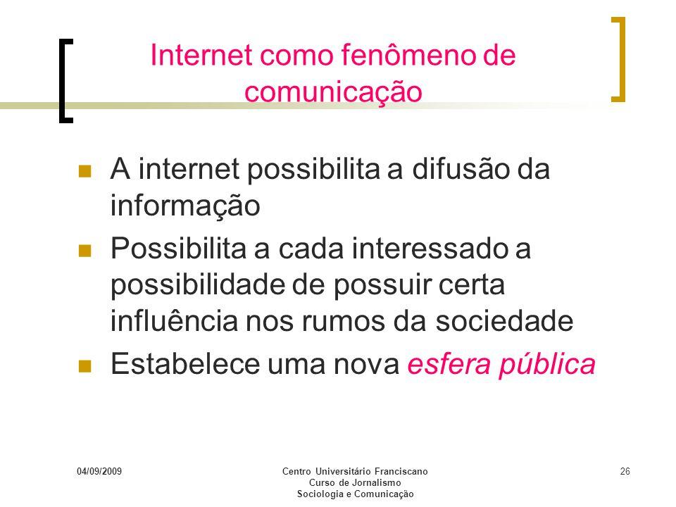Internet como fenômeno de comunicação