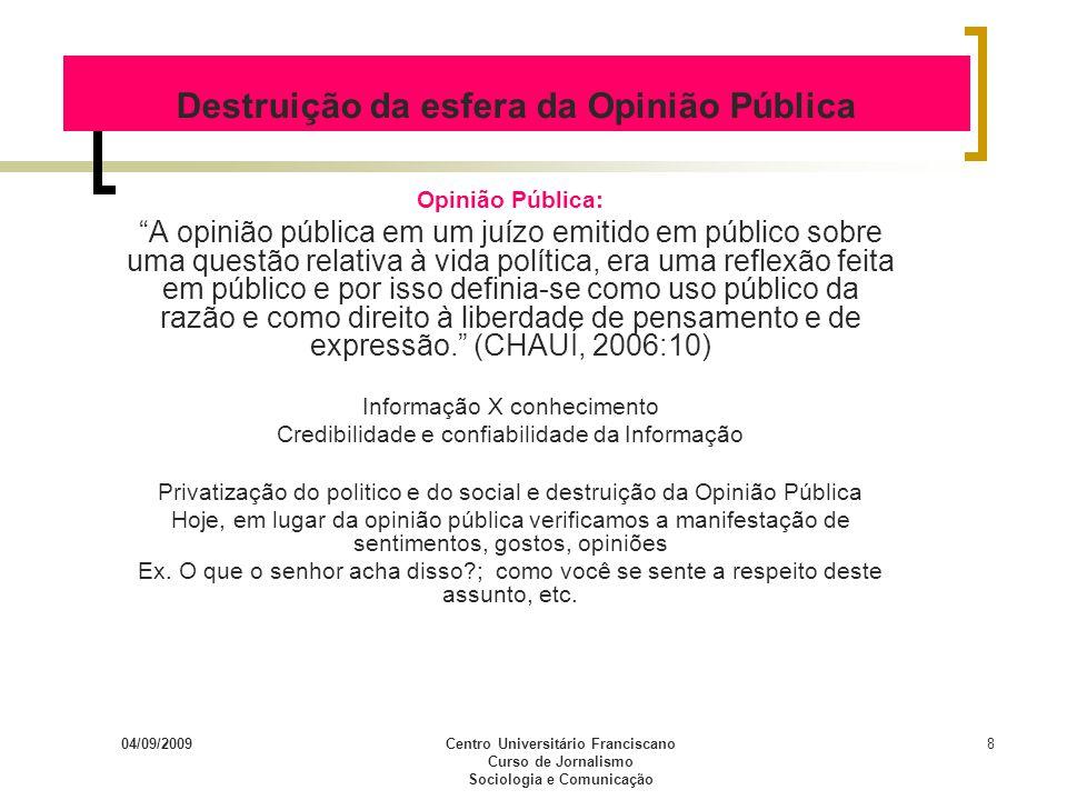 Destruição da esfera da Opinião Pública