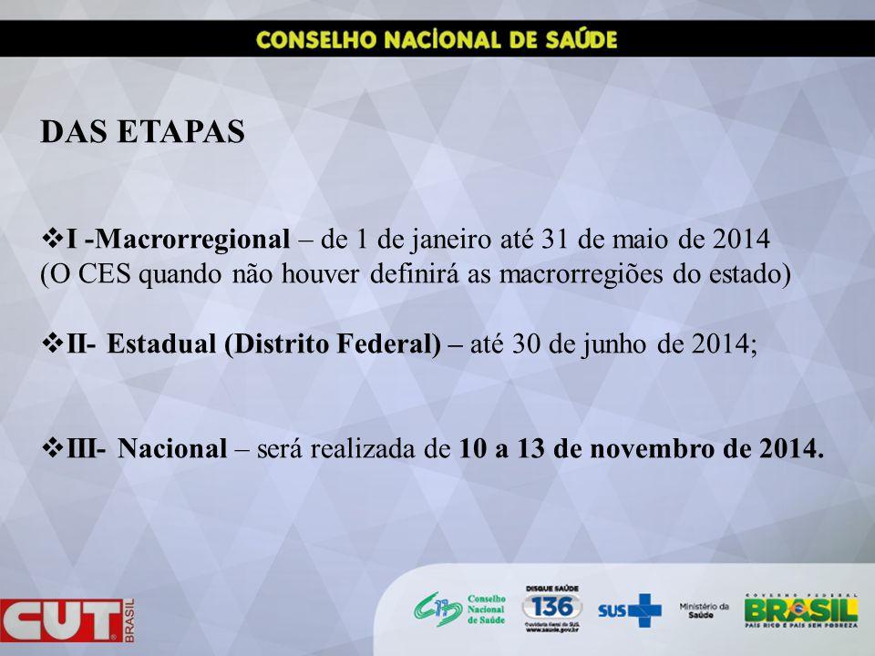 DAS ETAPAS I -Macrorregional – de 1 de janeiro até 31 de maio de 2014