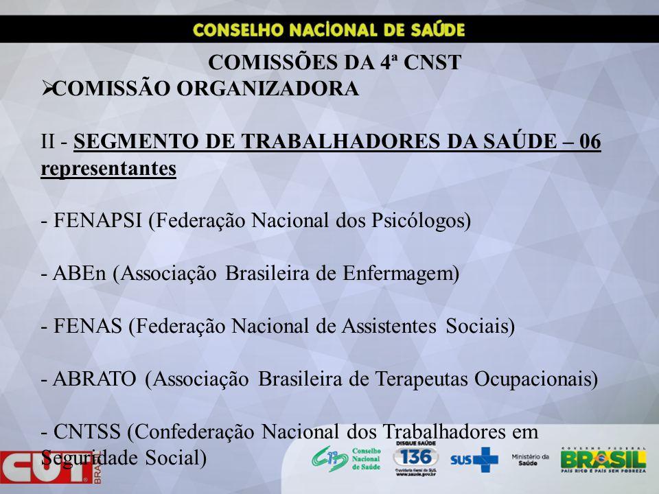 COMISSÕES DA 4ª CNST COMISSÃO ORGANIZADORA. II - SEGMENTO DE TRABALHADORES DA SAÚDE – 06 representantes.