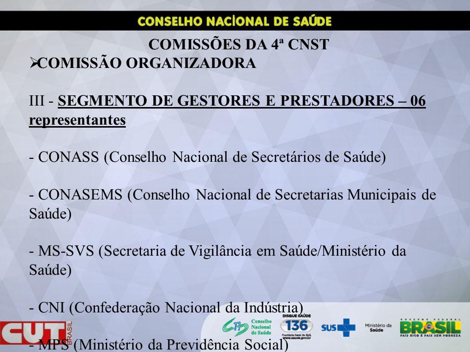 COMISSÕES DA 4ª CNST COMISSÃO ORGANIZADORA. III - SEGMENTO DE GESTORES E PRESTADORES – 06 representantes.