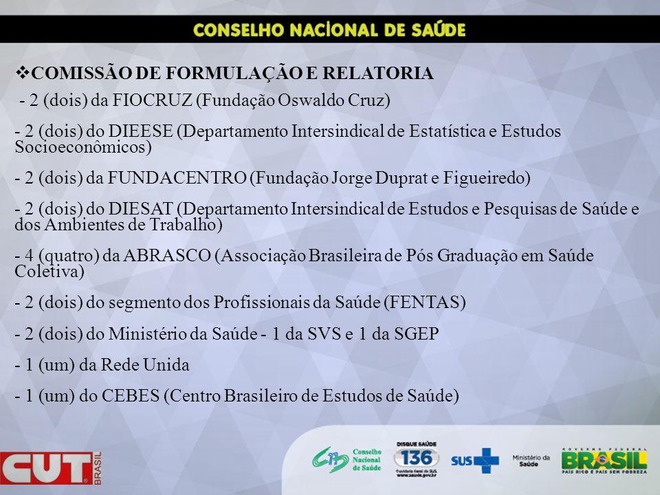 COMISSÃO DE FORMULAÇÃO E RELATORIA