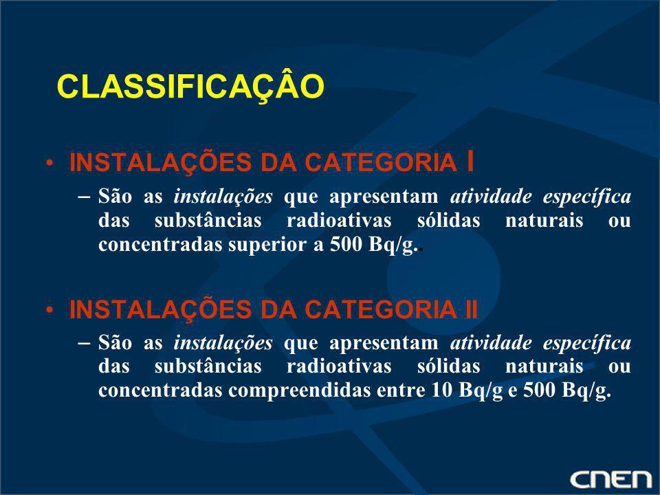 CLASSIFICAÇÂO INSTALAÇÕES DA CATEGORIA I INSTALAÇÕES DA CATEGORIA II