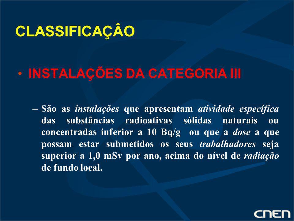 CLASSIFICAÇÂO INSTALAÇÕES DA CATEGORIA III