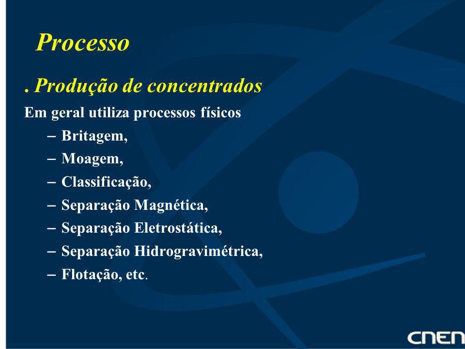 Processo . Produção de concentrados Em geral utiliza processos físicos