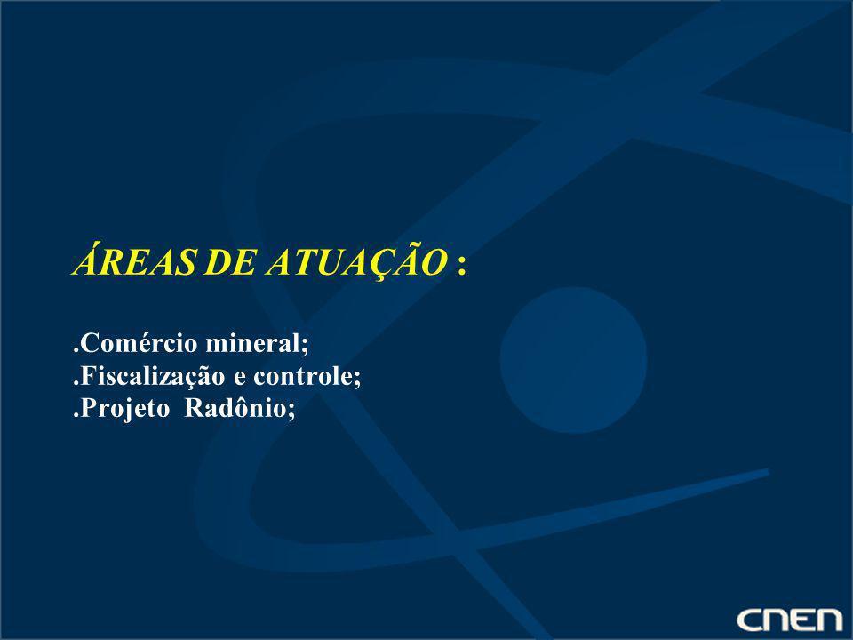 ÁREAS DE ATUAÇÃO :. Comércio mineral;. Fiscalização e controle;