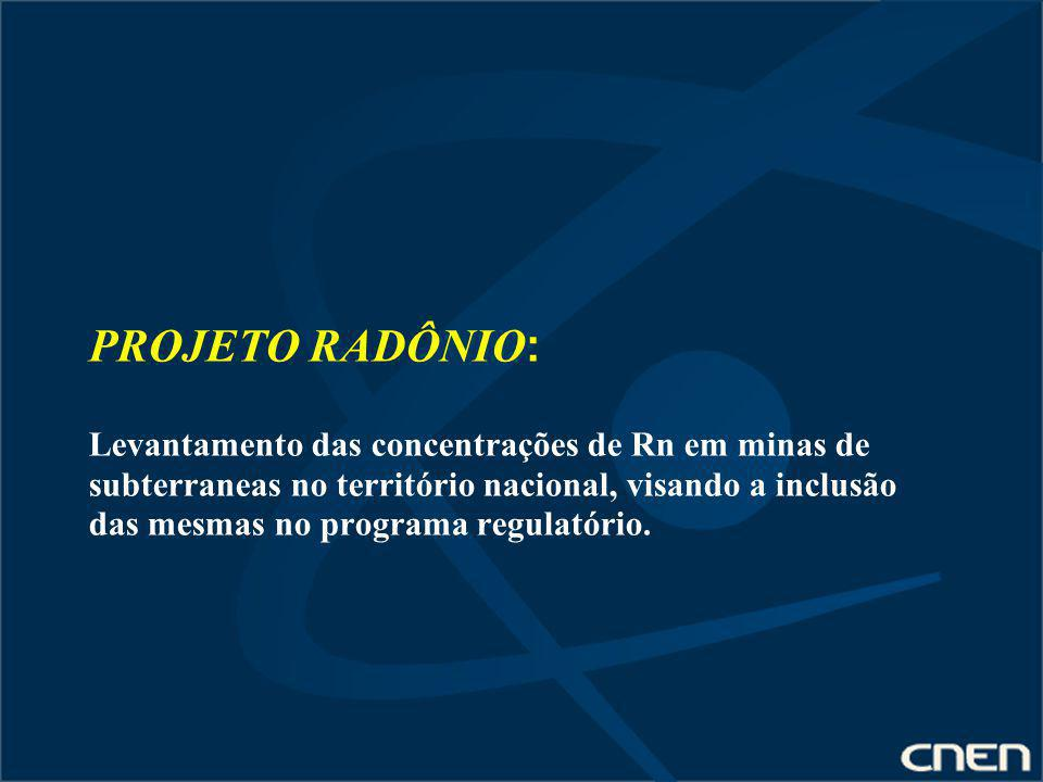 PROJETO RADÔNIO: Levantamento das concentrações de Rn em minas de subterraneas no território nacional, visando a inclusão das mesmas no programa regulatório.
