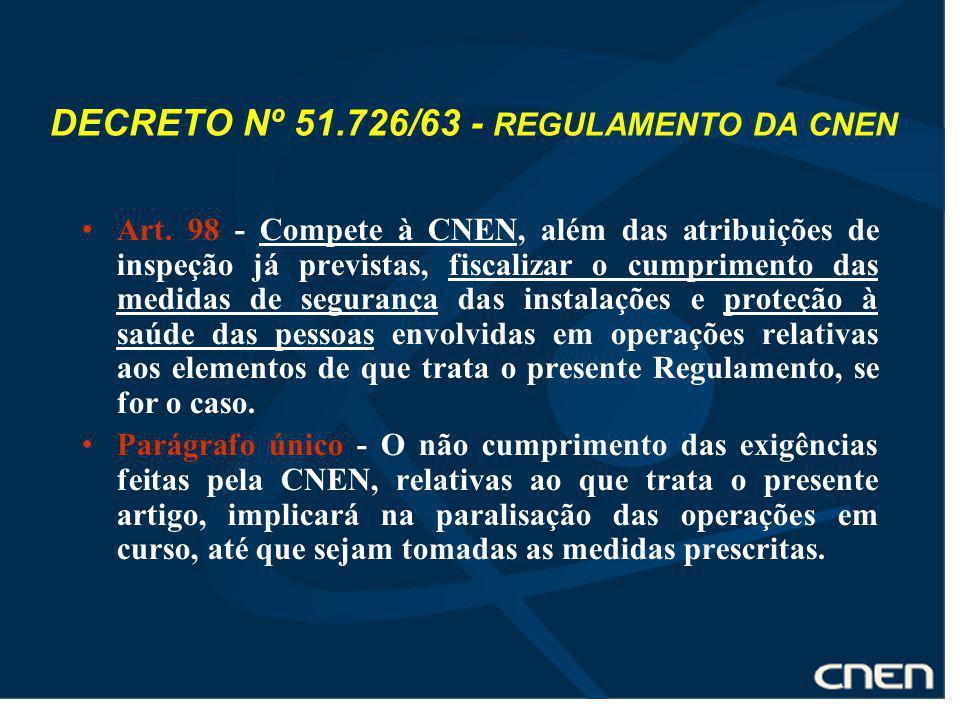 DECRETO Nº 51.726/63 - REGULAMENTO DA CNEN