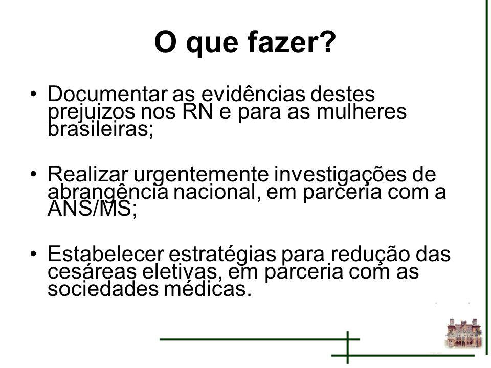 O que fazer Documentar as evidências destes prejuizos nos RN e para as mulheres brasileiras;