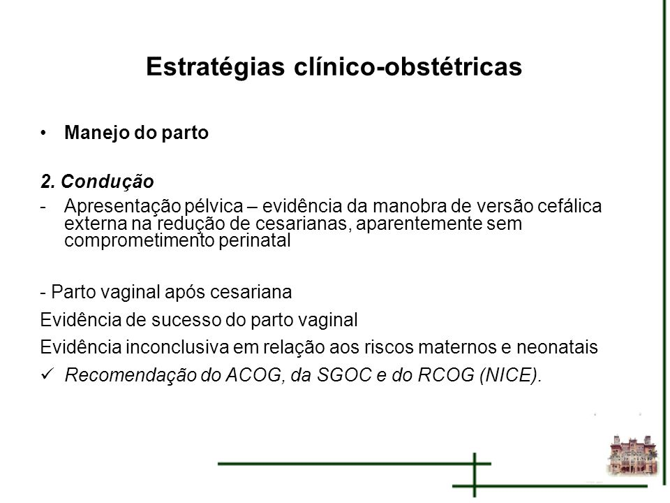 Estratégias clínico-obstétricas