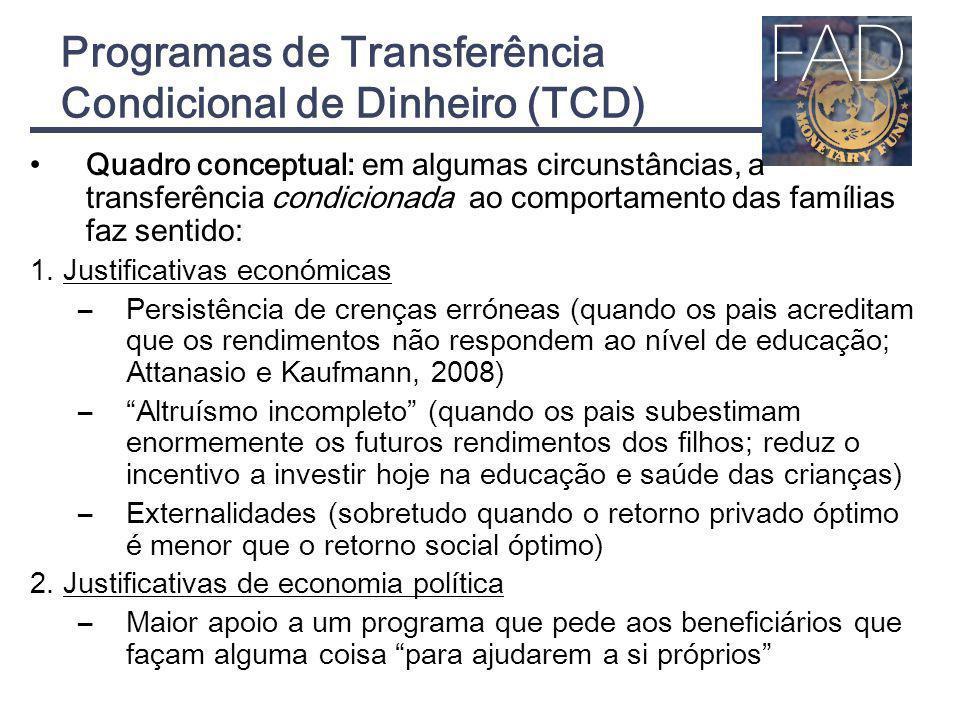 Programas de Transferência Condicional de Dinheiro (TCD)