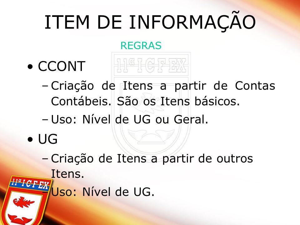 ITEM DE INFORMAÇÃO CCONT UG