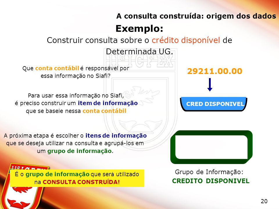 Exemplo: Construir consulta sobre o crédito disponível de