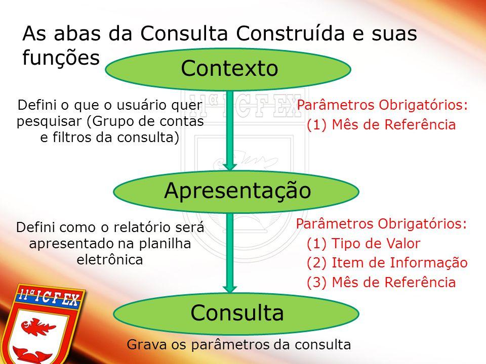As abas da Consulta Construída e suas funções