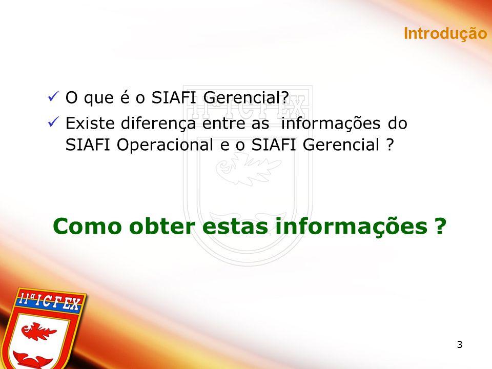 Introdução O que é o SIAFI Gerencial Existe diferença entre as informações do SIAFI Operacional e o SIAFI Gerencial