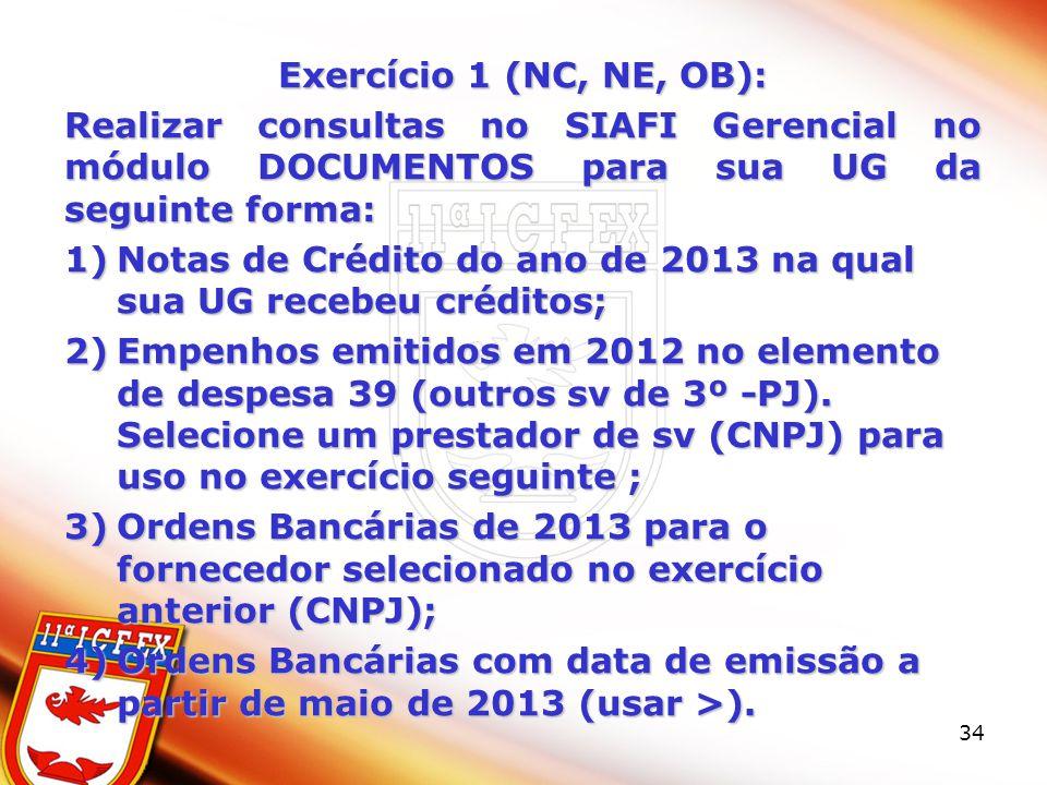 Exercício 1 (NC, NE, OB): Realizar consultas no SIAFI Gerencial no módulo DOCUMENTOS para sua UG da seguinte forma: