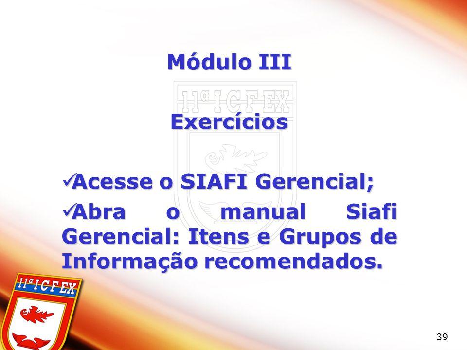 Módulo III Exercícios.
