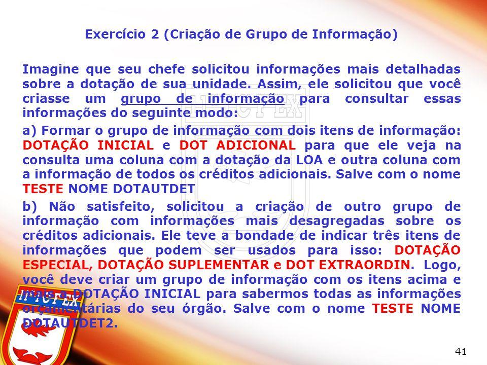 Exercício 2 (Criação de Grupo de Informação)