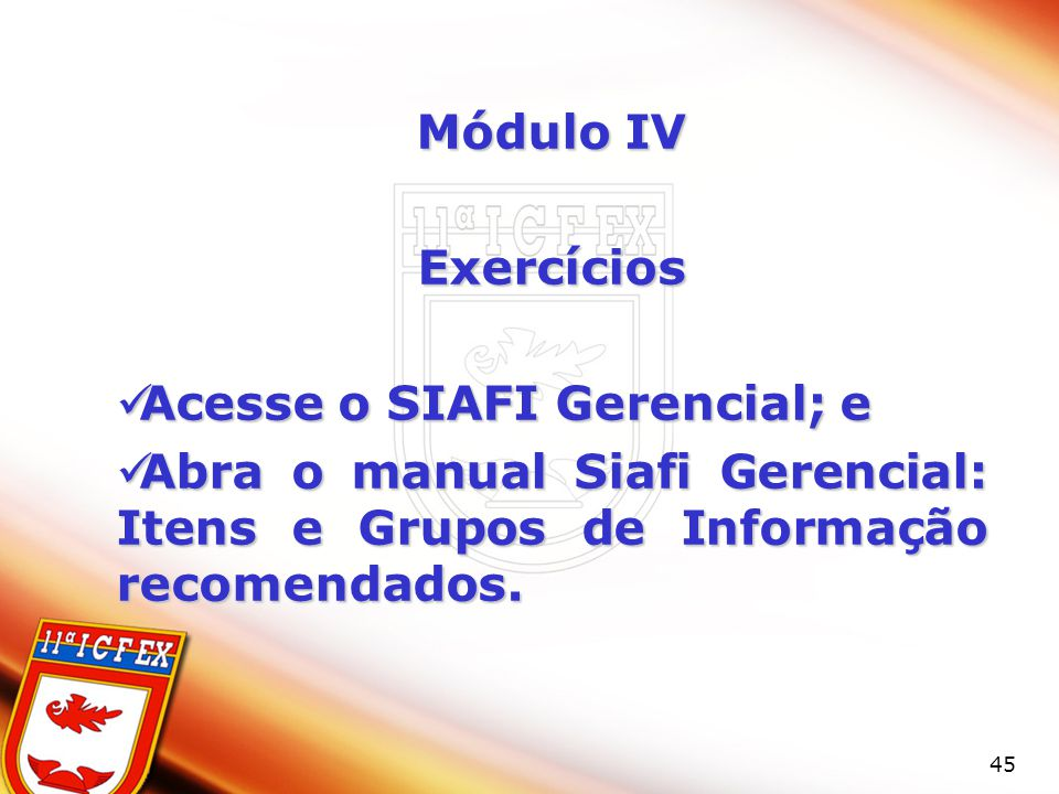 Módulo IV Exercícios. Acesse o SIAFI Gerencial; e.