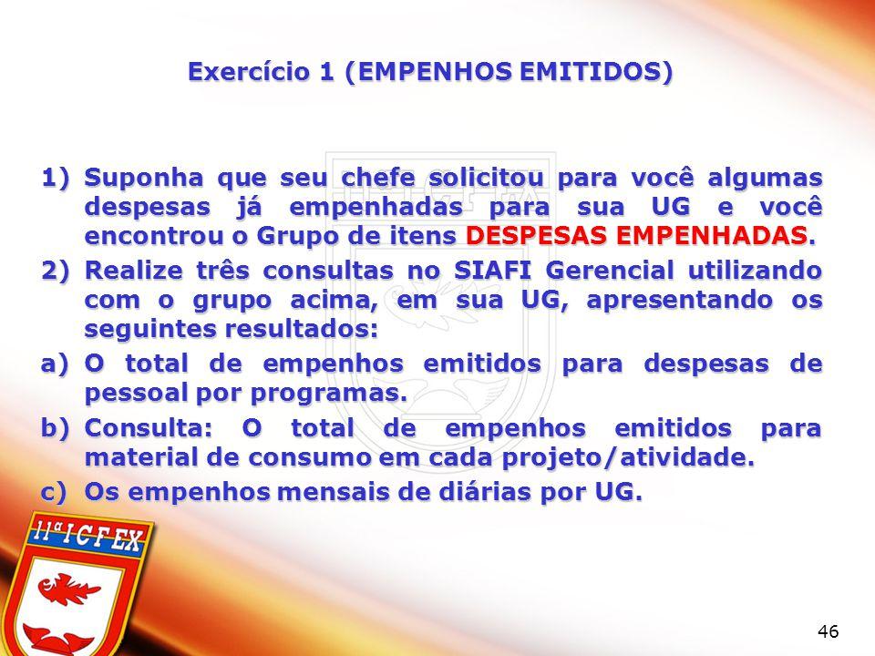 Exercício 1 (EMPENHOS EMITIDOS)