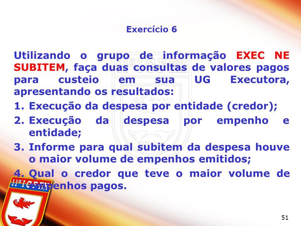Execução da despesa por entidade (credor);