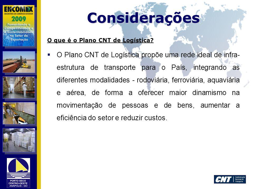 Considerações O que é o Plano CNT de Logística
