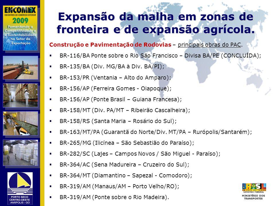 Expansão da malha em zonas de fronteira e de expansão agrícola.