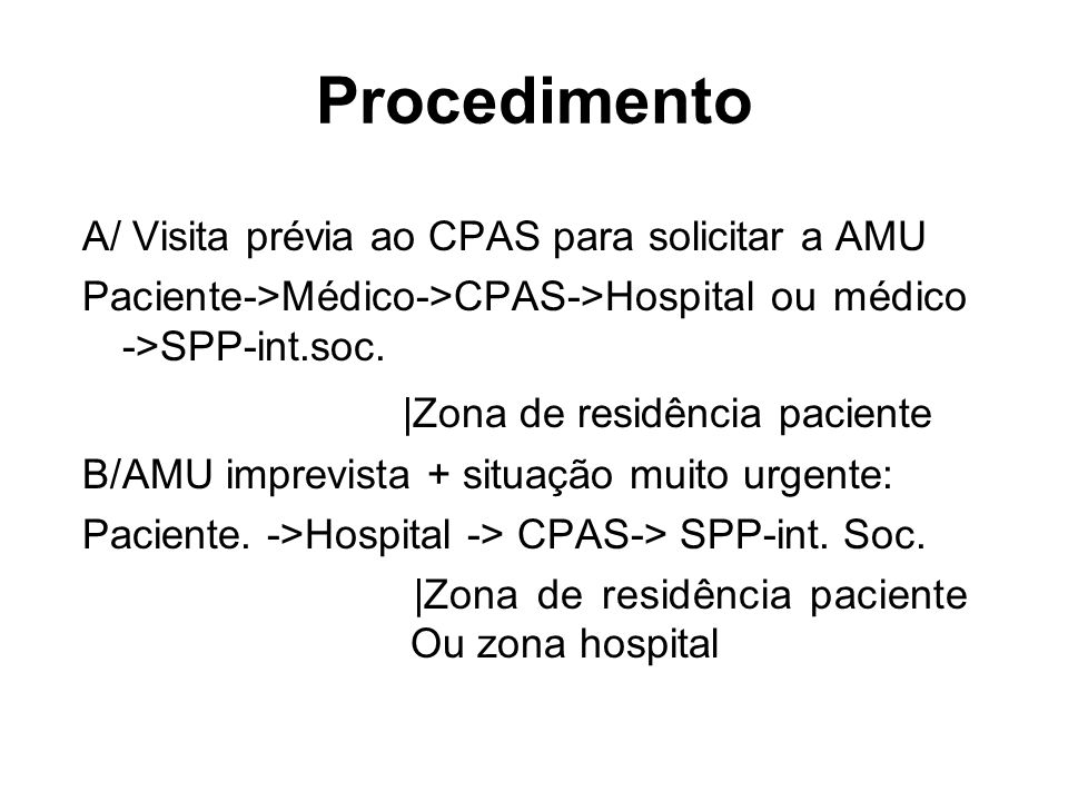Procedimento |Zona de residência paciente