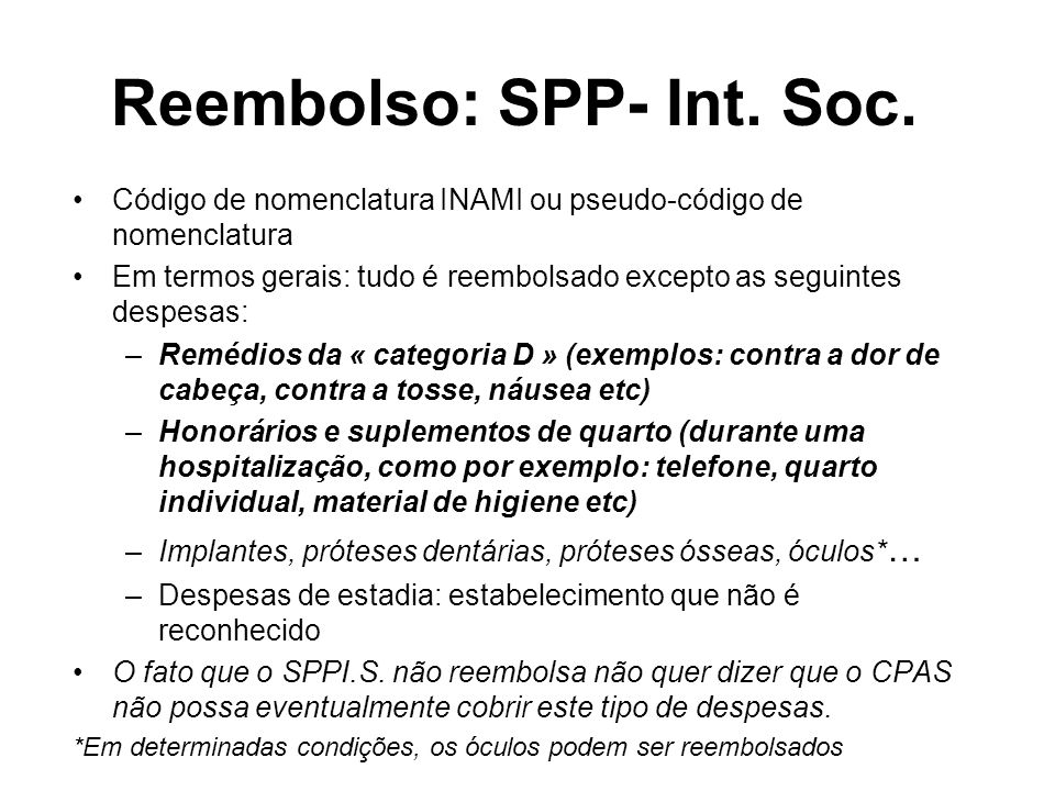 Reembolso: SPP- Int. Soc.