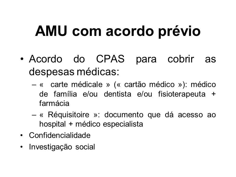AMU com acordo prévio Acordo do CPAS para cobrir as despesas médicas: