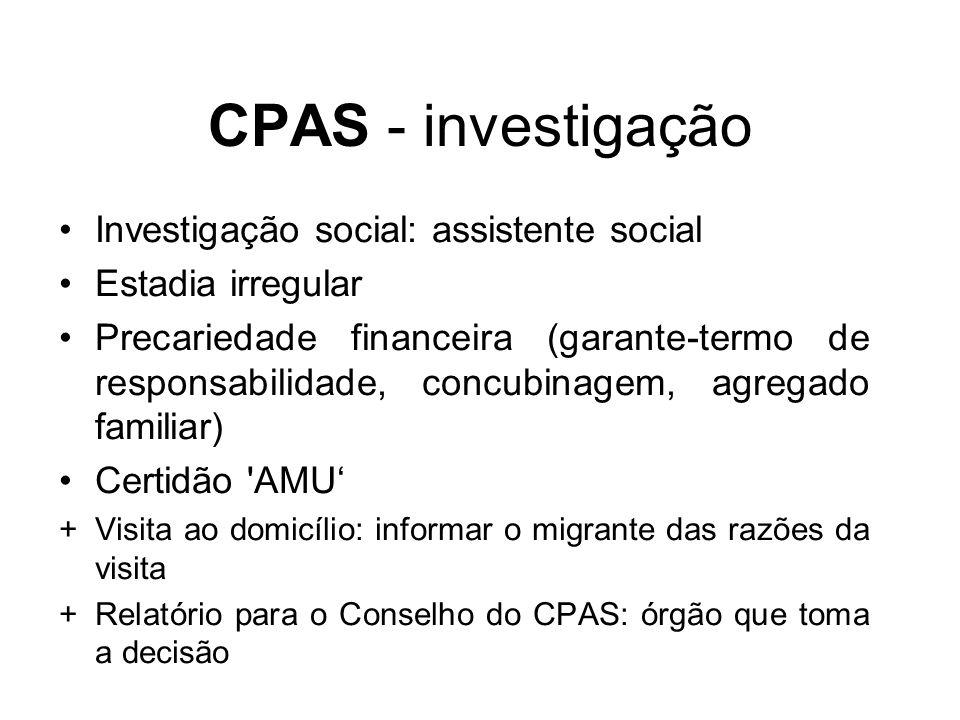 CPAS - investigação Investigação social: assistente social