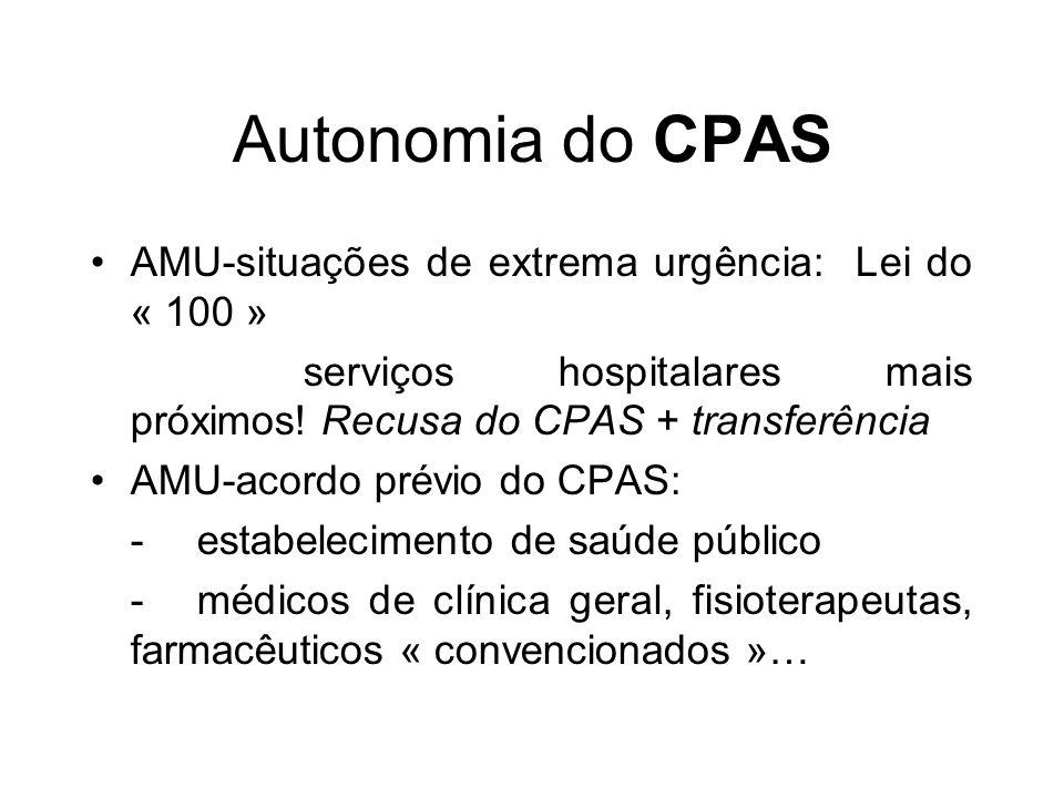 Autonomia do CPAS AMU-situações de extrema urgência: Lei do « 100 »