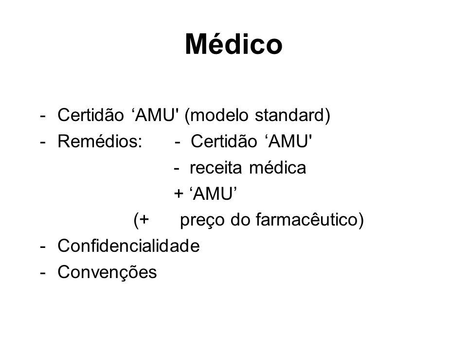 Médico - Certidão 'AMU (modelo standard) - Remédios: - Certidão 'AMU