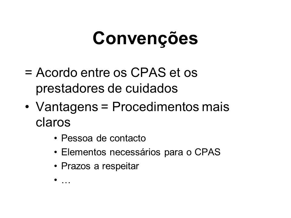 Convenções = Acordo entre os CPAS et os prestadores de cuidados