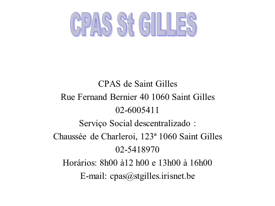 CPAS St GILLES CPAS de Saint Gilles