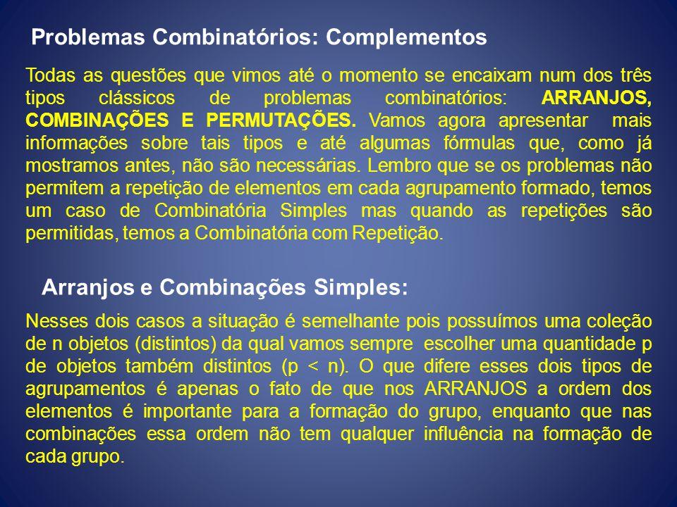 Problemas Combinatórios: Complementos