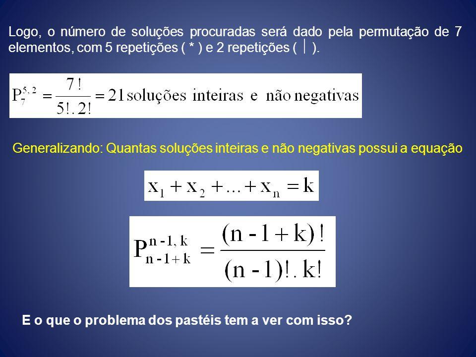 Logo, o número de soluções procuradas será dado pela permutação de 7 elementos, com 5 repetições ( * ) e 2 repetições (  ).