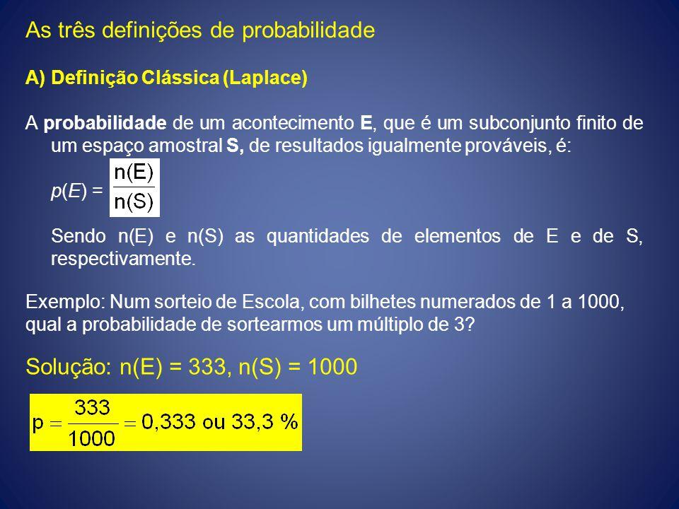 As três definições de probabilidade