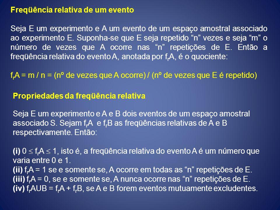 Freqüência relativa de um evento