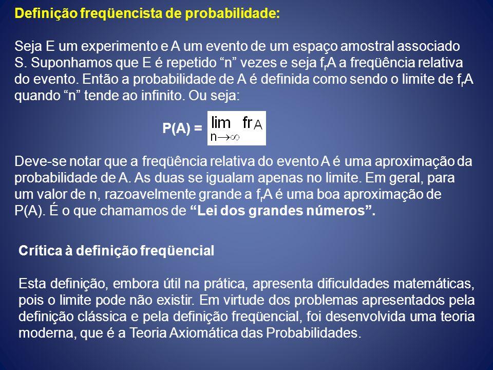 Definição freqüencista de probabilidade: