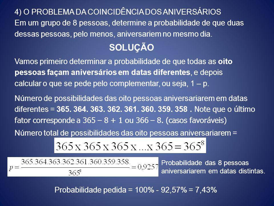Probabilidade pedida = 100% - 92,57% = 7,43%