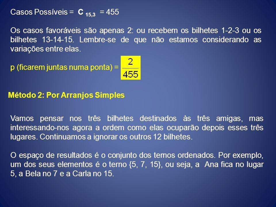 Casos Possíveis = C 15,3 = 455