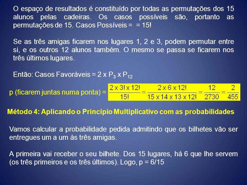 O espaço de resultados é constituído por todas as permutações dos 15 alunos pelas cadeiras. Os casos possíveis são, portanto as permutações de 15. Casos Possíveis = = 15!