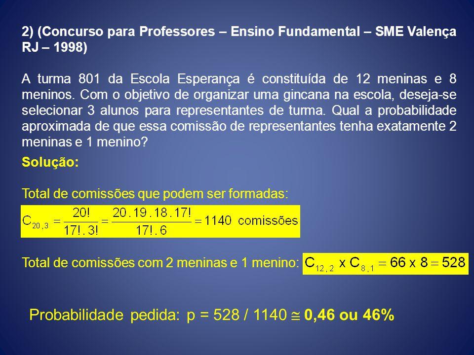 Probabilidade pedida: p = 528 / 1140  0,46 ou 46%