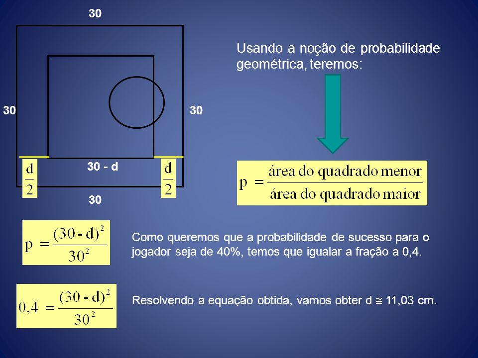 Usando a noção de probabilidade geométrica, teremos: