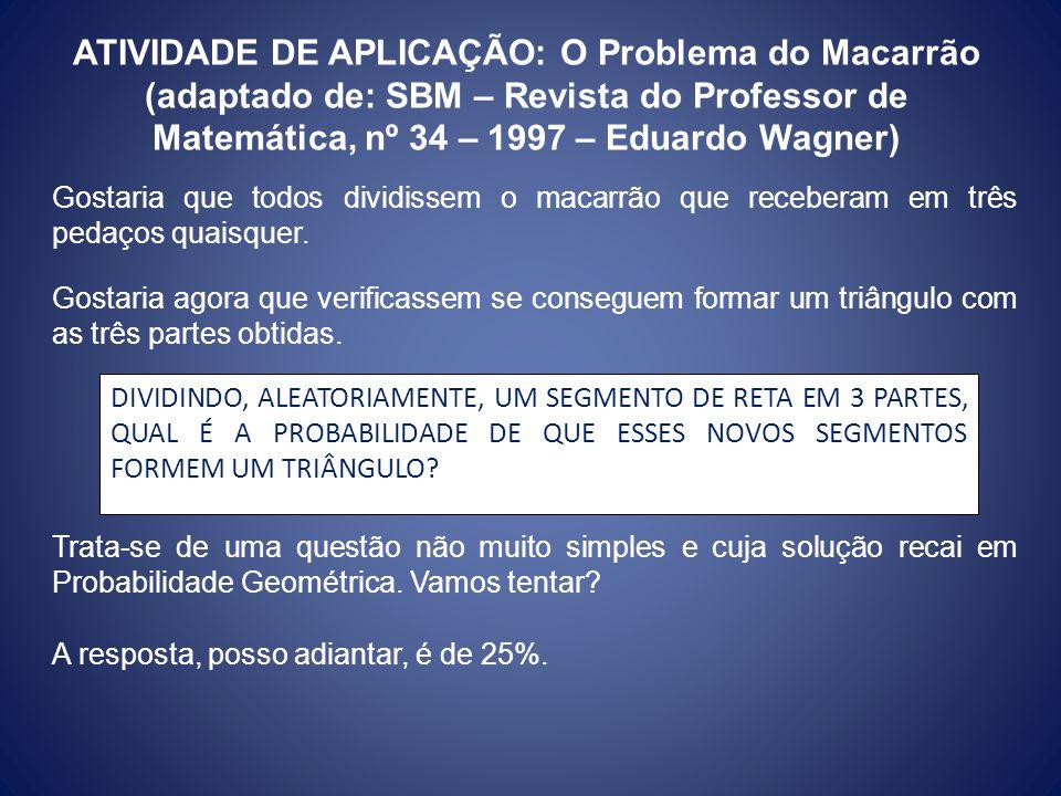 ATIVIDADE DE APLICAÇÃO: O Problema do Macarrão (adaptado de: SBM – Revista do Professor de Matemática, nº 34 – 1997 – Eduardo Wagner)