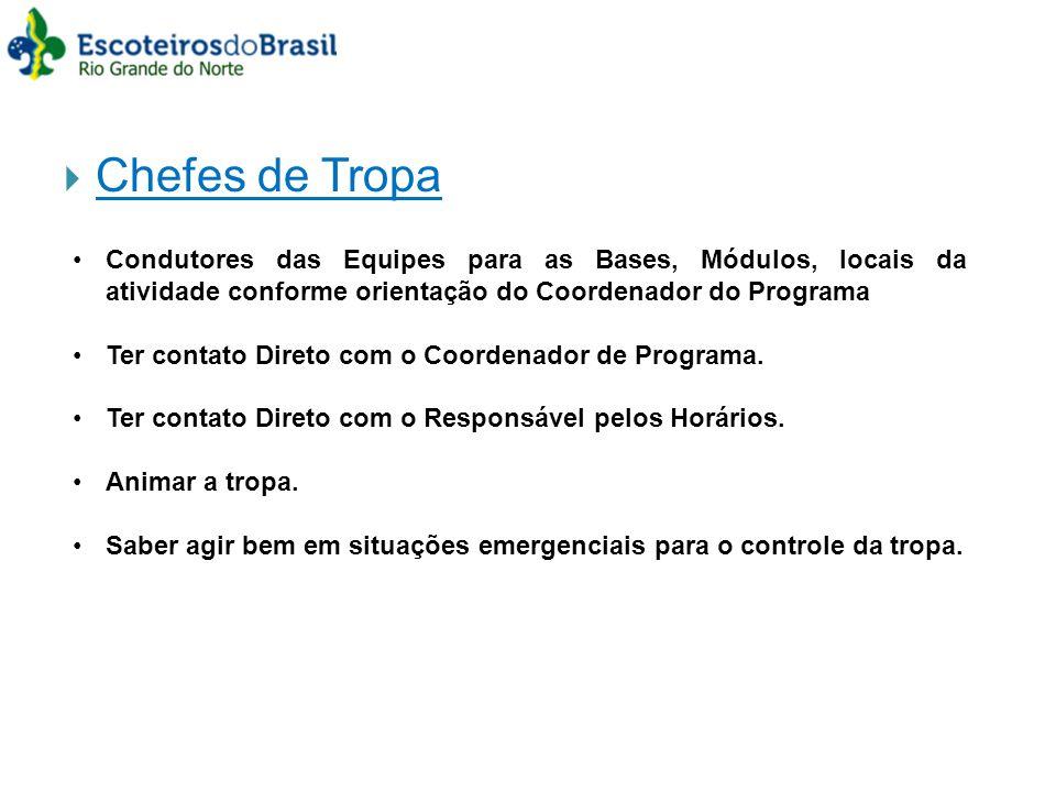 Chefes de Tropa Condutores das Equipes para as Bases, Módulos, locais da atividade conforme orientação do Coordenador do Programa.
