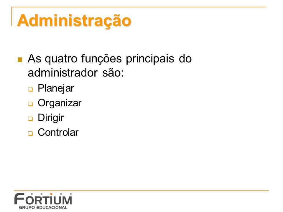 Administração As quatro funções principais do administrador são: