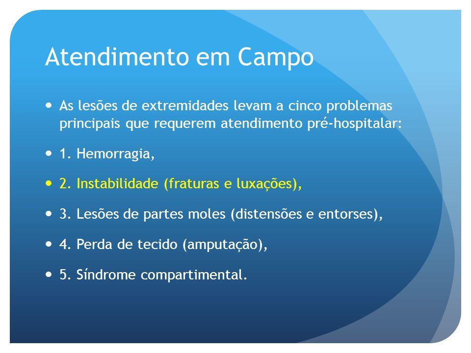 Atendimento em Campo As lesões de extremidades levam a cinco problemas principais que requerem atendimento pré-hospitalar: