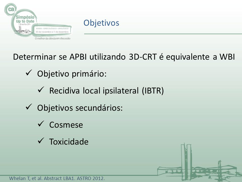 Determinar se APBI utilizando 3D-CRT é equivalente a WBI